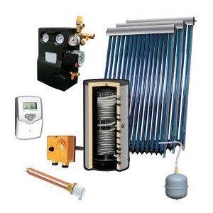 Zonneboilerset voor tapwater en verwarming 1000L met 3x heatpipes VTC30 voor platdak