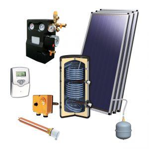Zonneboilerset voor tapwater 500L met 3 vlakke platen 2.15