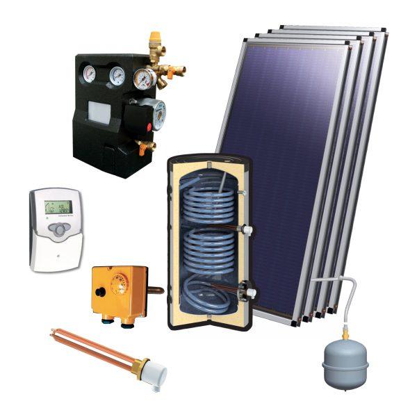 Zonneboilerset voor tapwater 1000L met 4 vlakke platen 2.15