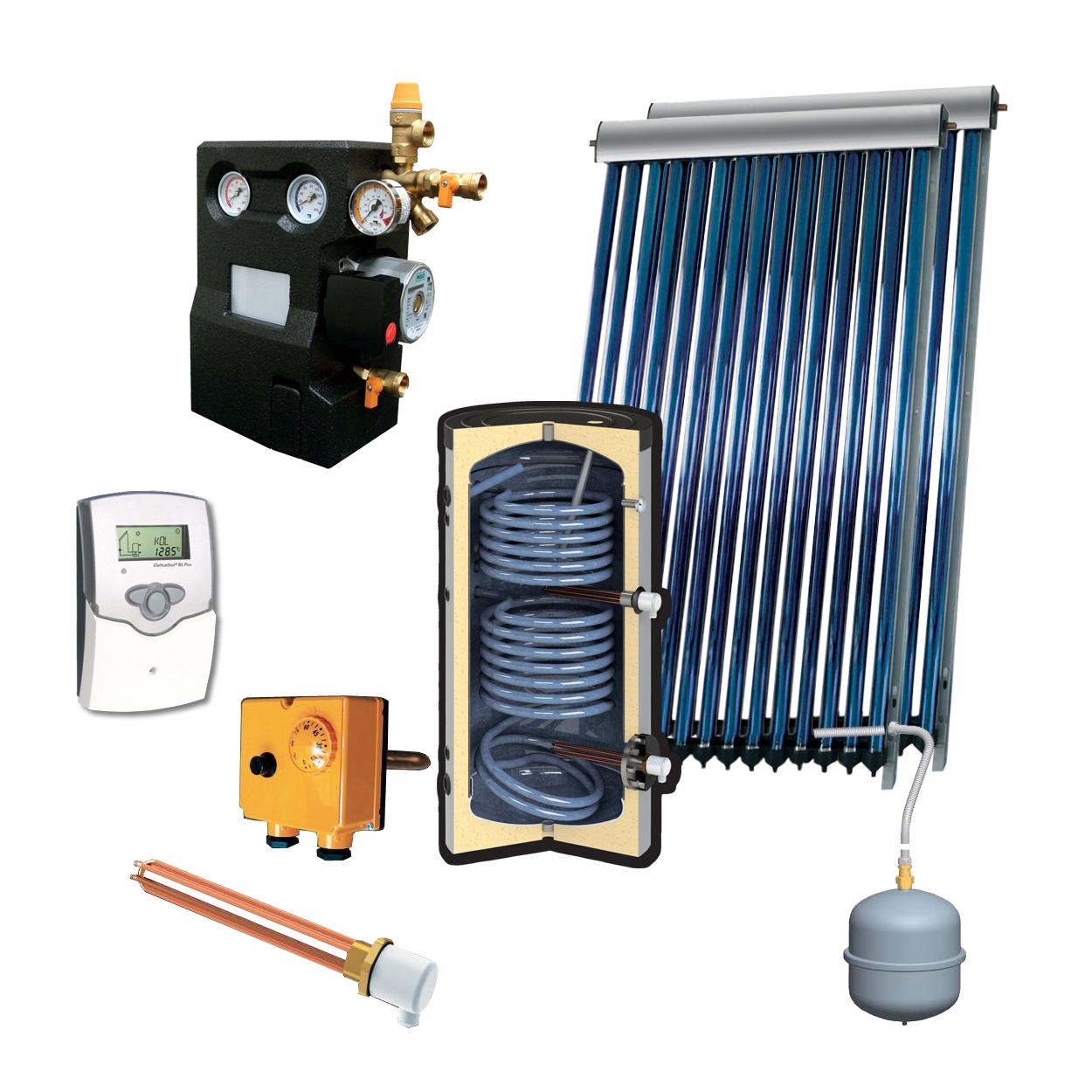 Zonneboilerset voor tapwater 1000L met 2x heatpipes VTC30